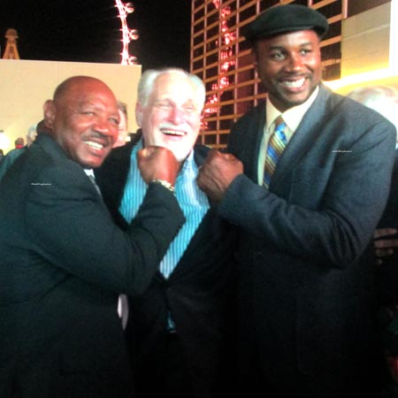 Marvelous and boxing champion Lennox Lewis with sportcaster Al Bernstein in Las Vegas August 2015