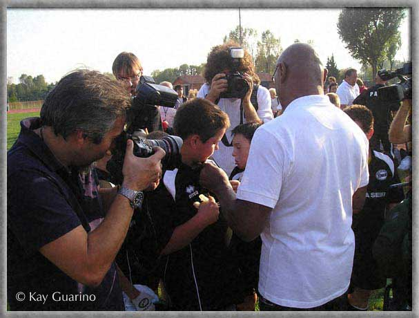 Marvelous Marvin Hagler visit the young rugby team in Saini Center in Milan, Italy.