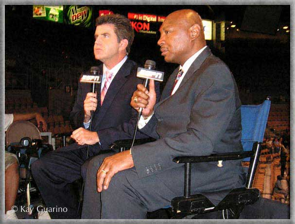 Marvelous Marvin Hagler. Marvelous Marvin Hagler with Brian Kenny on set for ESPN as Boxing Analyst Friday Night Fights show on July 20, 2007 in Los Vegas. Photo by Kay Guarino