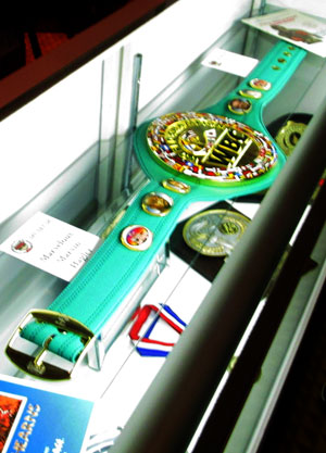 WBC Belt for career archivement on exhibition in the Boxing Museum, Las Vegas
